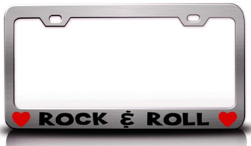 ROCK & ROLL Musical Musician Steel Metal License Plate Frame Chrome (License Plate Frame Rock Music compare prices)