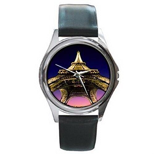Cdg551 Paris Eiffel Tower At Night Fisheye Lens Photo Silver Watch Black Leather