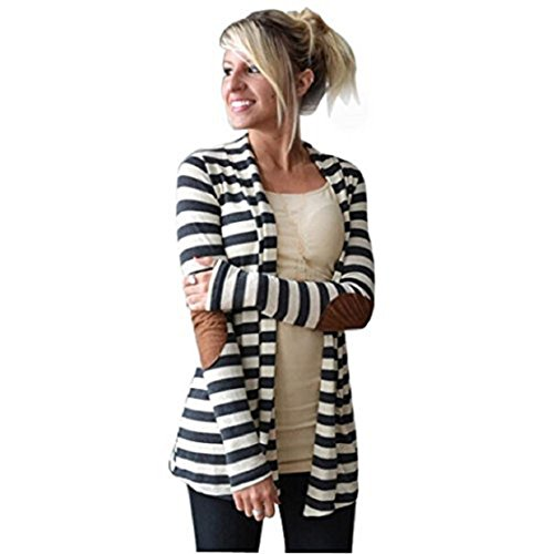 Internet Women Long Sleeve Striped Patchwork Cardigans (UK12-14(Asia XL))