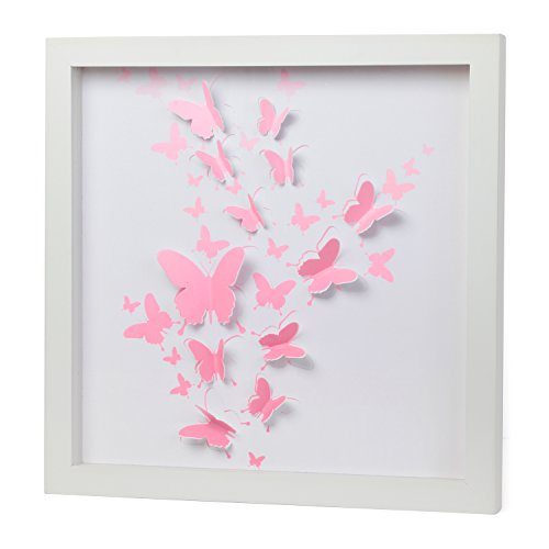 3D Pink Butterfly Artwork Girls room décor Baby girl Nursery Home décor Wall Art Pink and White 3D cutout Butterflies in PlexiGlass Encased Shadow Box ...  sc 1 st  Anna Linens & 3D Pink Butterfly Artwork Girls room décor Baby girl Nursery ...