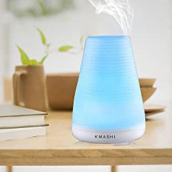 KMASHI 100ml Aromatherapy Essential Oil Diffuser with Ultrasonic Humidifier Adjustable Mist Mode and 7 colors changing
