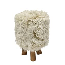 Deco 79 50830 Wood Faux Fur Round Stool, 13\