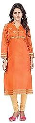 INDIAN FASHION LADY Women's Cotton Kurtas (Ifl-101 , Orange)