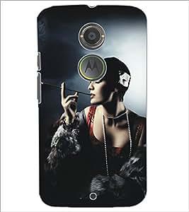 PrintDhaba Hat Girl D-5292 Back Case Cover for MOTOROLA MOTO X2 (Multi-Coloured)