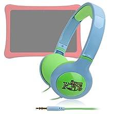 buy Ikross Kid Safe Over The Ear Headphone W/ Padded Design & Volume Limiter Compatible With Fuhu Nabi Elev-8, Nabi Dreamtab Hd8, Nabi 2 2S, Nabi Nick Jr. 5 Inch Tablet, Nabi Jr.S - Blue / Green