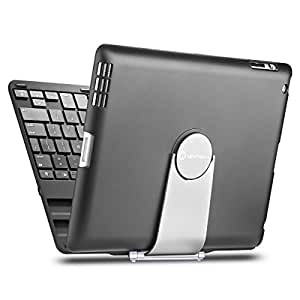 iPad case, iPad keyboard case, New Trent Airbender 1.0 Wireless Bluetooth Clamshell iPad Keyboard Case with 360 Degree Rotation and Multi-Angle Stand for iPad 4, iPad 3 and iPad 2 - Black and Silver(1pc)