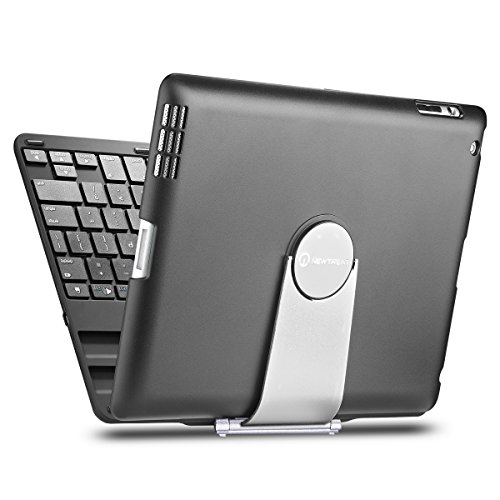 iPad case, iPad keyboard case, New Trent Airbender 1.0 Wireless Bluetooth Clamshell iPad Keyboard Case w/ 360 Degree Rotation for iPad 4, iPad 3, iPad 2 ONLY - NOT for iPad Air, iPad Air 2 primary