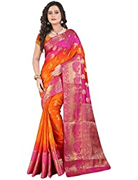 Vatsla Women's Banarasi Cotton Silk Saree With Heavy Borderwork And Blouse Piece(VBOPS1_PINK_ORANGE_COLOR