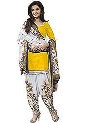 Sanjana Women's Cotton Dress Material (SD2997_Free Size_Yellow)