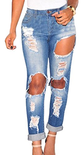 PEGGYNCO Christmas Womens Casual Denim Ripped Skinny Jeans(Blue,L)