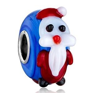 Pugster Xmas Gift Snowman Sapphire Murano Glass Charm Bead Fits Pandora Charm Bracelet