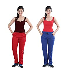 Casual Combo of Red & Blue Track Pants by Bfly