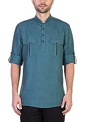 Desam Men's Linen Kurta Green 40