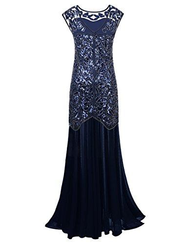 PrettyGuide Women 's 1920s Sequin Gatsby Plus Size Formal Evening Prom Dress XXL Navy