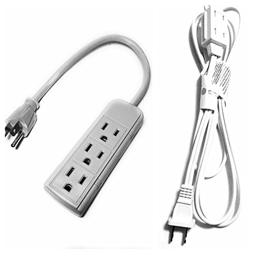 JF 6 feet Wall Hugger Extension Cord White Color and 3-Outlet Power Strip 1ft Cord 120 Volt Grounded Power Cord Beige White Color (Slim Profile Extension Cord compare prices)