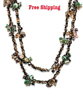 Green and Brown Freshwater Pearl and Crystals Endless Necklace 54