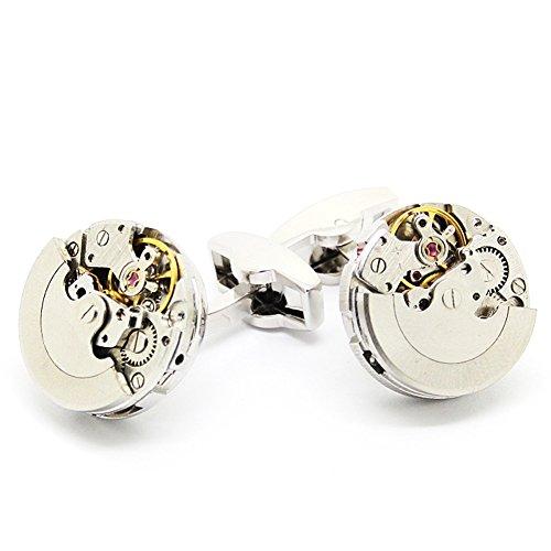 Silber Farbe Steampunk-Uhr-Manschettenkn?pfe, Klassiker Uhrwerk Uhrwerk Manschettenkn?pfe
