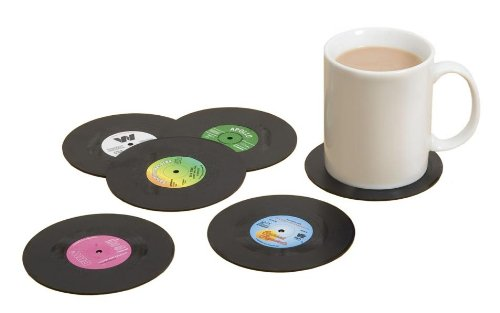 Vinyl Record Coaster Set – Pack of 6 Retro Novelty Drink Mats