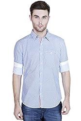 Showoff Men's Full Sleeves Slim fit Blue Printed Casual Shirt