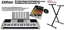 Clifton LP6210C - Teclado (USB, MIDI, 61 teclas sensibles al tacto, fuente de alimentación, rueda de pitch bend, soporte)