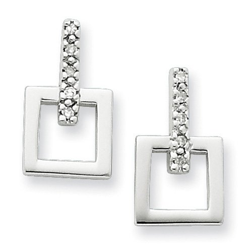 Sterling Silver White Ice .05ct. Diamond Earrings. Comes in a lovely Gift Box