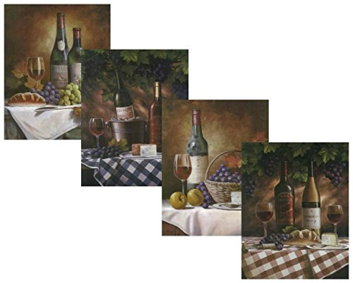 Set of 4 Classy Wine Bottles Grapes Gourmet Fruit Art Prints Posters 11x14 Inches Kitchen Cafe Home Decor Great for Framing! (Grapes Decoration For The Kitchen compare prices)