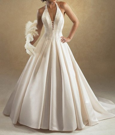 ivory halter wedding dress