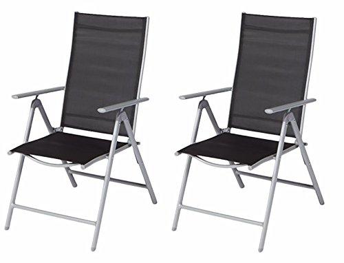 Klappsessel Set 2 Stück Gartenstuhl silber schwarz 7-fach verstellbar Alu/Textil