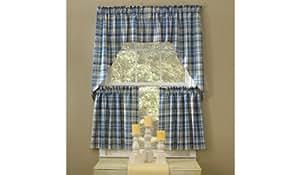 com blue belle window tier curtains 36 blue yellow white plaid