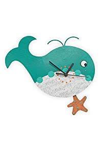 Oxidos Recycled Fair Trade Whale Clock (Aqua)