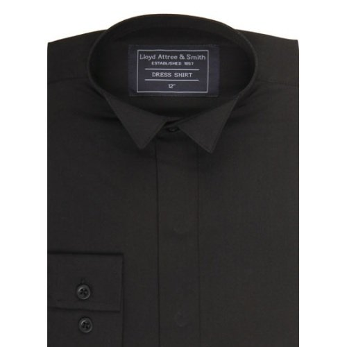 Boys Smart Wing Collar Dress Shirt Black with Single Cuff ideal for weddings