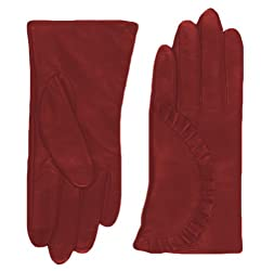 Echo Design Women's Echo Touch Ruffle Leather Gloves, X-Large, Red