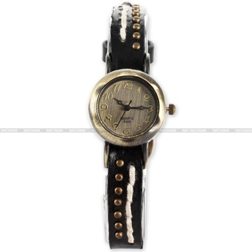 AMPM24 Retro Bronze Women Lady Slim Bracelet Black Leather Analog Quartz Wrist Watch
