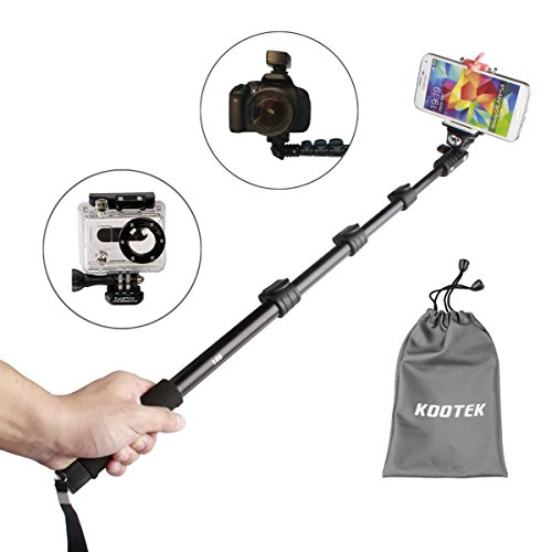 Kootek® Telescopic Handheld Monopod Selfie Stick Pole With Bluetooth Remote Shutter Button For Iphone 6 5 5S 4S 4 Samsung Galaxy S5 S4 S3 Note 3 2 And Other Android Smartphones And Tripod Mount For Gopro Hero 3+ 3 2 1 Digital Camera And Camcorder (50 Inch