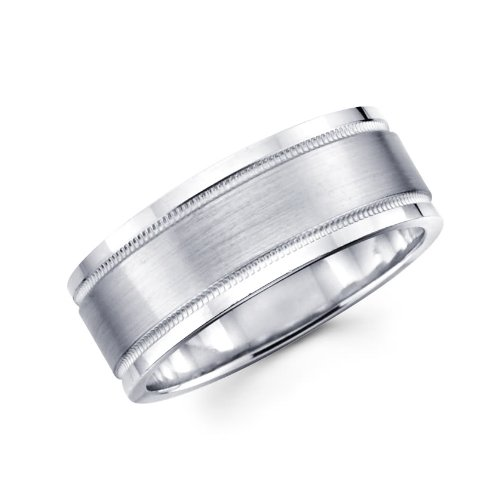14K White Gold 6mm Millgrain Brushed Designer Wedding Band - Size 10.5