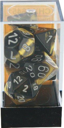 Polyhedral 7-Die Gemini Dice Set: Black & Gold With Silver (D4, D6, D8, D10, D12, D20 & D00)