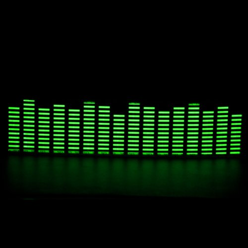 45x11cm DC 12V Sound Sensitive Music Beat Activated Car Sticker Equalizer Glow Green LED Light with Car Cigarette Charger Universal Decoration