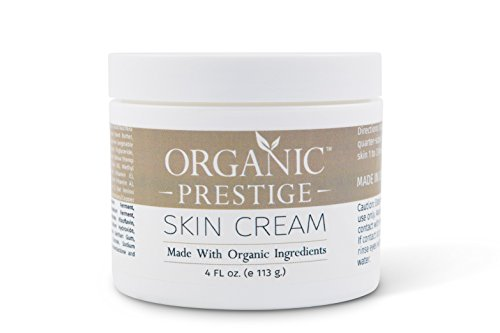 Luxury Organic Dry Skin Repair CREAM & Natural Facial Moisturizer (4 oz) Rosacea, Eczema, Psoriasis, Rashes, Redness, Aloe Vera, Vegan, Gluten Free, Face and Body, Smooth Legs by Organic Prestige (Cream Rosacea compare prices)