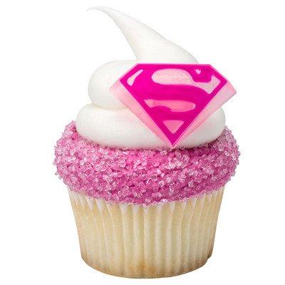 Supergirl Shield Cupcake Rings - 24 ct