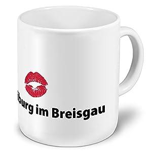 XXL Jumbo-Städtetasse Freiburg im Breisgau - XXL Jumbotasse mit Design Kussmund - Städte-Tasse, Städte-Krug, Becher, Mug