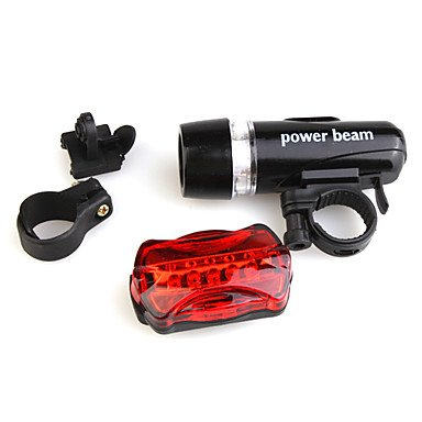 Xs Bicycle Bike White 5-Led Torch Flashlight + Red 5-Led 7-Mode Tail Light Set With Mount