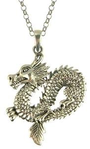 Mens Dragon Pendant Necklace Gold Plated Belcher Chain 51cm Length Model Csp550