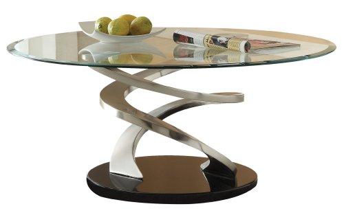 Cheap Acme 80030 Nia Glass Top Coffee Table, Chrome Finish (B0082A1CP2)