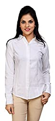 Carrel Brand Imported Cotton Fabric Solid Full Sleeve Shirt White Colour Women L Size.