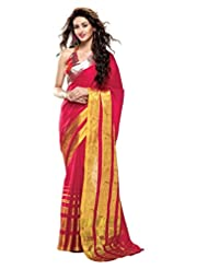 Roop Kashish Cotton Saree With Zari Border Saree(Larissa_Pink And Gold)