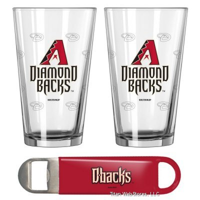 MLB Diamondbacks Pint Glasses (2) & Bottle Opener Set | Arizona Diamondbacks Barware Gift Set