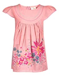Budding Bees Girls Red Printed Cotton Dress