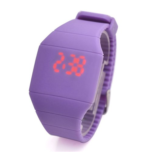 Jovivi Ultra-Thin Unisex Boy And Girl Touch Screen Led Digital Silicone Sport Wrist Watch - Purple