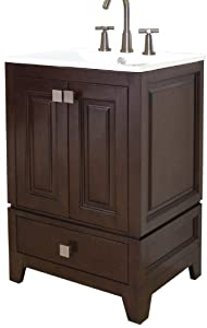American Imaginations 468 American Birch Wood Vanity with Soft-Close Doors and White Ceramic Top for 8-Inch Off Center Faucet Installation, 24-Inch W x 34-Inch H