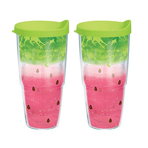 Tervis Watermelon Splash Wrap 24-oz Bottle with Lime Green Lid Bundle (2-Pack)